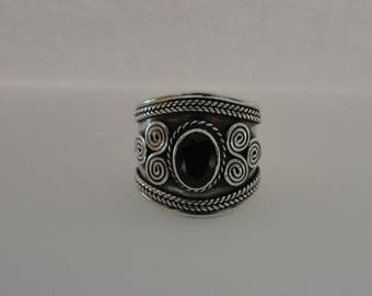 Sterling Silver Wide Garnet Band Ring