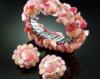 Vintage Cha Cha Expansion Bracelet Set Earrings Pink Abalone Shell Signed Japan