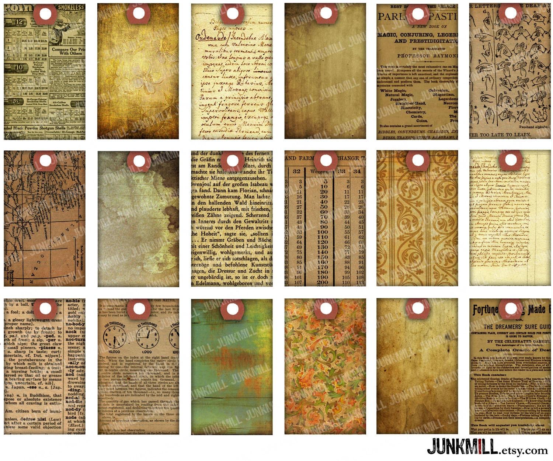 PAPER SCRAP TAGS Digital Printable Collage Sheet Vintage