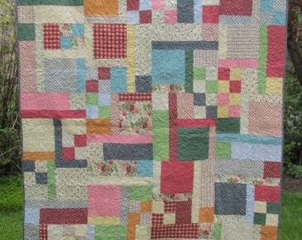 COTTAGE Blossoms TWIN Size QUILT Blanket Lap Comforter