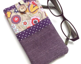 Glasses case - Spectacle case - Eyeglasses case - 'Retro garden' Print - Fabric glasses pouch - Gift for mum