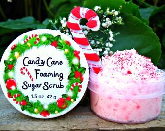 CANDY CANE Sugar SCRUB. Mini Scrub with Crushed Candy Canes and Jojoba Beads. Foaming Whipped Soap Scrub. 1.5 oz (42 g).