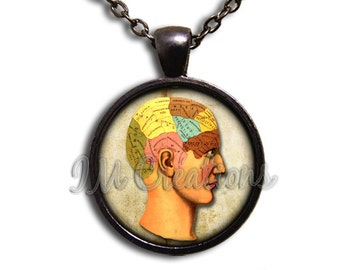 The Mind Anatomy Glass Dome Pendant or with Chain Link Necklace SM157