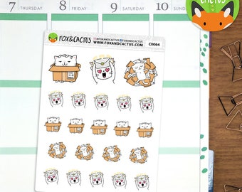 Happy Mail Cats - Mail Letter Package Parcel Online Shopping Kitten - Planner Stickers (C0064)