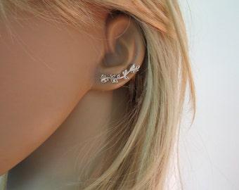 leaves ear cuff, branch earrings handmade, crawler earrings, silver ear climber earrings nature inspired