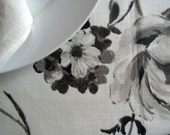 Floral Tablecloth, 52x54. Large Flowers, Black, Grey, White, Floral Table Cloth