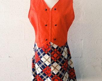 1970's Orange Crush / Plaid Day Dress