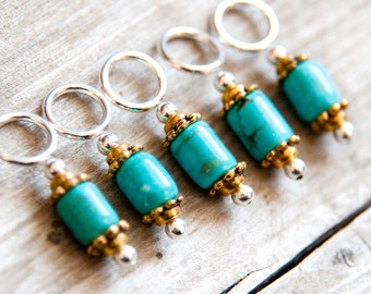 Stitch Markers // Knitting Markers // Gemstone Stitch Markers // Turquoise Blue and Gold // Set of 5