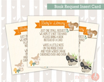 Baby Shower Book Request Insert Card | Sweet Woodland Baby Boy or Girl Woodland Animals | Forest Baby Shower Invitation Add On's