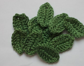 10 crochet leaves, khaki