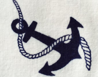"80s CIA Industrial //""Anchors Away Matey""//Nautical Novelty//Ropes'n Anchors//Import Brazil//Dark Blue on White Grnd//Crisp Cotton Print"