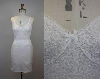 1950s White Slip / 1950s Lingerie / 1950s Slip / Lace and Taffeta Slip / Hollywood Glamour / St Michael / Size Small / S M