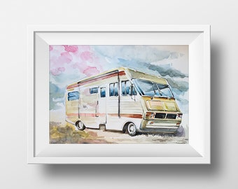 Wall Art Walter and Jesse Trailer Watercolor Print,Breaking Bad,Tv Show Poster,Printable,Fan Gift,Meth Lab,Van,Walter White,Room Decor