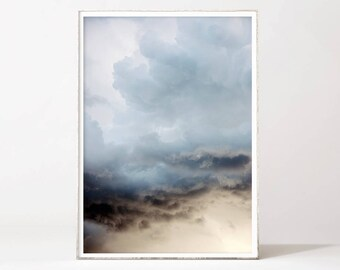 Blue Sky Art Print Clouds Digital Poster Downloadable Home Decor Wall Art Printable Instant Download Modern Photography Storm Large A3 A4