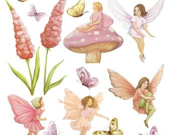 set of fairy decals, Fairy decal, fairies, fairy wall stickers, fairy wall decals, fairy art, fairies, girls wall stickers, girls decals,