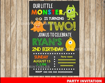 Monster Chalkboard invitation; Chalkboard Monster Birthday invitation, Monster party Invitation Digital File