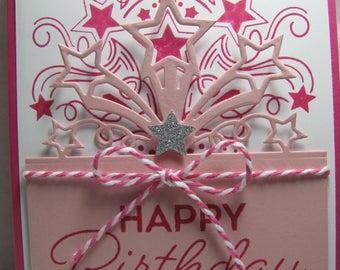 Stampin' Up! HAPPY BIRTHDAY Star Blast 3D Pink Card Kit - 2 Cards