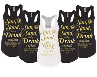 Sun Sand and a Drink in my Hand Good Times & Tan Lines Bachelorette tanks Bridal Party tank top
