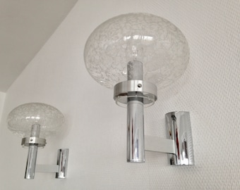 Pair of sconces - chrome - Space Age Crackle Glass - 1960