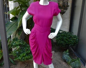 Vintage 1980's All That Jazz Fuchsia Dress - Size 4