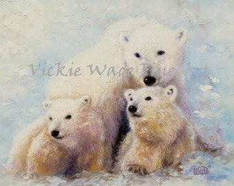 Nursery Baby Bear Art Print, polar bear and cubs,  baby nursery, wildlife paintings, nursery prints, mother bear paintings, Vickie Wade