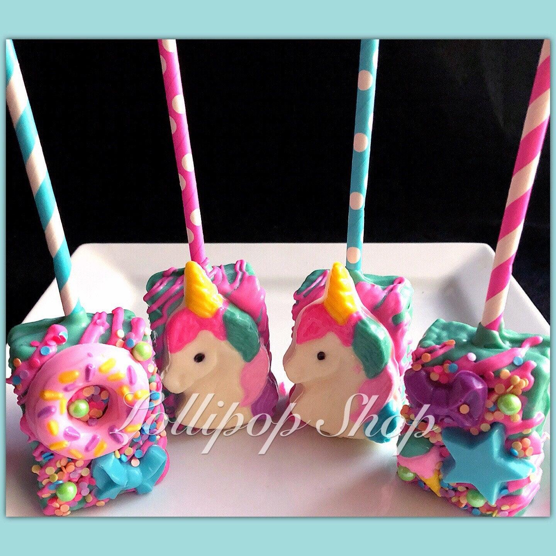 12 Unicorn Inspired Rice Krispie Treats Birthday Party Pops