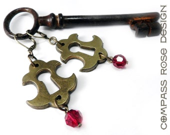Steampunk Earrings, Vintage Scarlet and Gold Escutcheon (Keyhole), Authentic Door Hardware, Ruby Red Crystal, Steampunk Jewelry