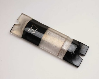 Mezuzah case black silver gold fused glass hand painted shin, masculine classic
