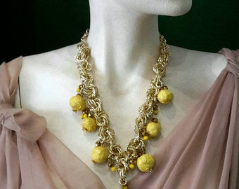 Necklace with papier-mâché balls and crystals-necklace with papermaches and crystal