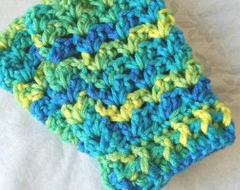 Crochet Fingerless Gloves, Crochet Texting Gloves, Multicolor Gloves, Blue, Green, and Yellow Gloves