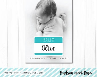Printable - The 'Olive' Birth Announcement | Baby Thank You Card | Photo | Newborn | Hello | Name tag | Baby | Pregnancy Announcement