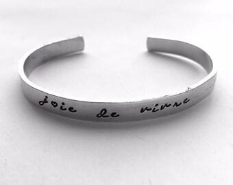 Joie de Vivre Cursive Bracelet Bangle Handstamped Engraved | Joy of Life French Bracelet - Simple Sleek Stackable BLKANDNOIR