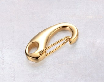1 x Small 21mm Gold Tone Solid Stainless Steel Self-Closing Kidney Clasp Key Clip