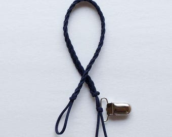 Navy Braided Leather Pacifier Clip