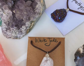 White Jade Cluster Necklace