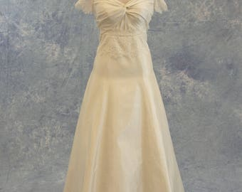 Ivory Lace and Taffeta Short Sleeve Sheer Lace Back Wedding Dress SAMPLE SALE!