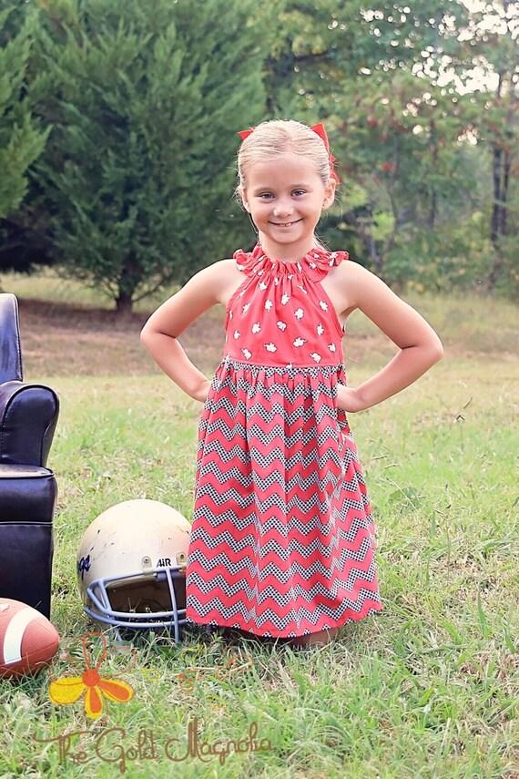 Girls Alabama Dress - University of Alabama Dress - Alabama Dress - Girls Red Elephant Dress - Football Dress