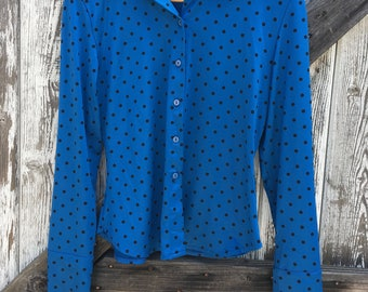 Womens Vintage Blue and Black Polka Dot Shirt Size M