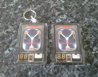 Flux Capacitor Keyring and Magnet Set. Back to the Future. Time Travel. Sci Fi