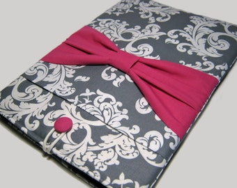 Macbook Air Sleeve, Macbook Air Cover, 13 inch Macbook Air Cover, 13 inch Macbook Air Case, Laptop Sleeve, Gray Demask W/ Pink Bow