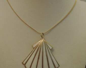 Gold Tone Serpentine Chain with Shell Pendant 1980-'90s