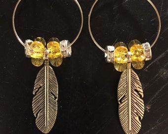 Feather with amber hoop earrings