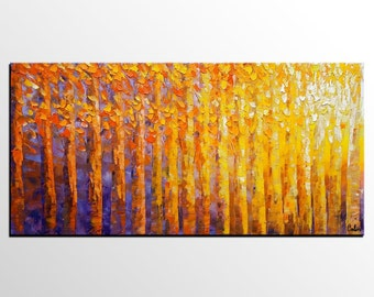 Large Painting, Wall Art, Large Art, Canvas Art, Abstract Art, Contemporary Abstract Painting, Original Art, Canvas Painting, Birch Tree