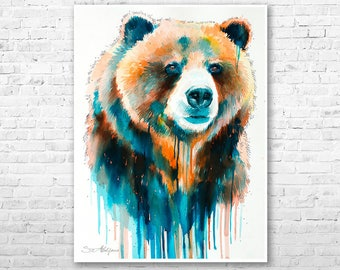 Grizzly Bear Watercolor Painting Print By Slaveika Aladjova Art Animal Illustration Home Decor Nursery Gift Wildlife Wall
