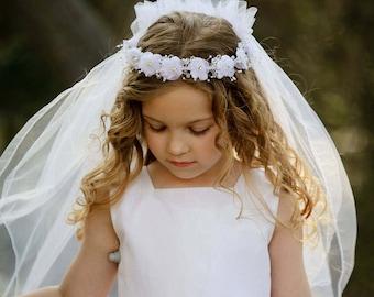 Bella First Communion Veil - Veil, First Communion, First Communion Headpiece, Communion Headband, Special Occasion Headband, Flower Girl