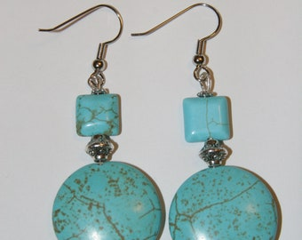Turquoise and silver plated antiqued metal Earrings
