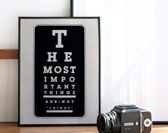 The Most Important Things Are Not Things, Zen Quote, Typography Poster, Positive Thoughts Poster, Quote Wall Art, A3 Size, 11.7 x 15.7 in