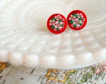 red vintage flower posts- Scandinavian floral folk earrings -Heidi posts