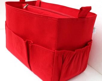 Extra taller Purse organizer - Bag organizer insert in Red fabric