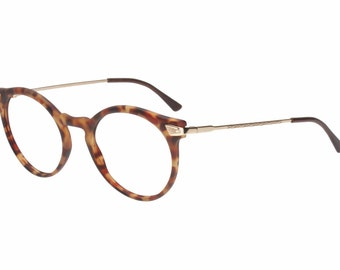 Allison round tortoise eyeglasses, tortoise demi blonde cello frames with golden temples, hand made in Italy, NOS 1980s